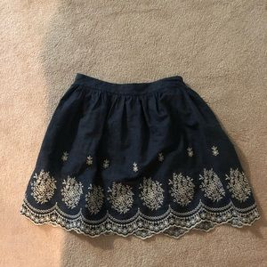 blue embroidered skirt